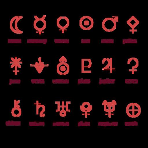 Zodiac planet symbols