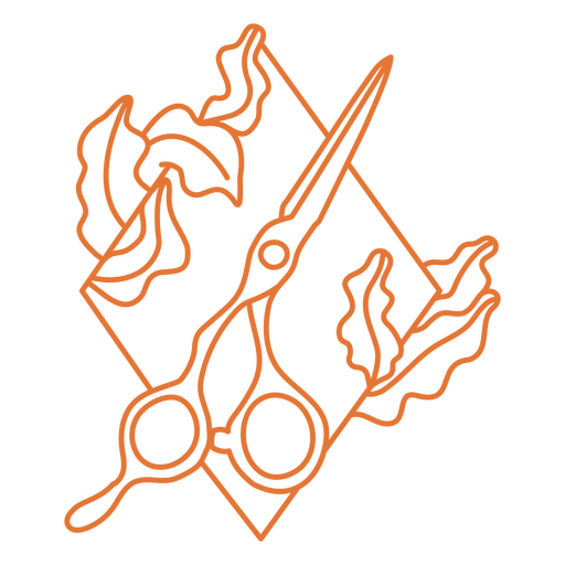 Scissors and leaves diamond badge stroke