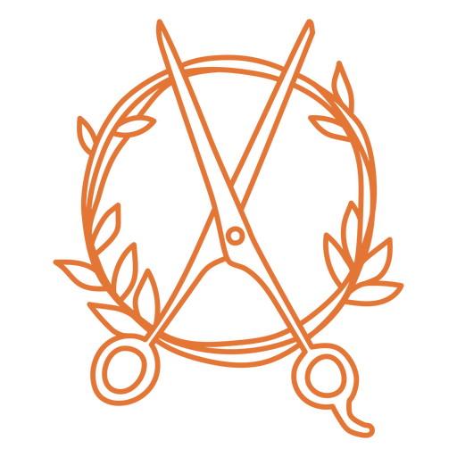 Scissors and plants circle stroke badge