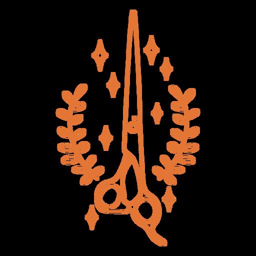 Scissors and leaves stroke badge