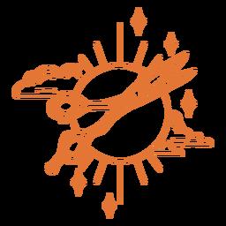 Scissors and sun stroke badge