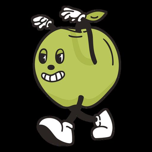 Retro cartoon green apple character