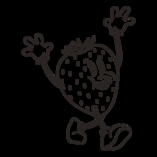 Retro cartoon stroke strawberry character