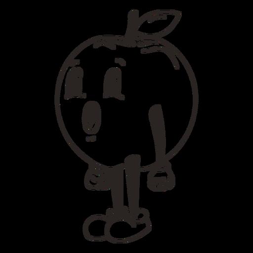 Retro cartoon stroke apple character