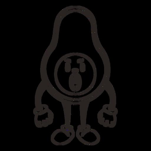 Retro cartoon avocado stroke character