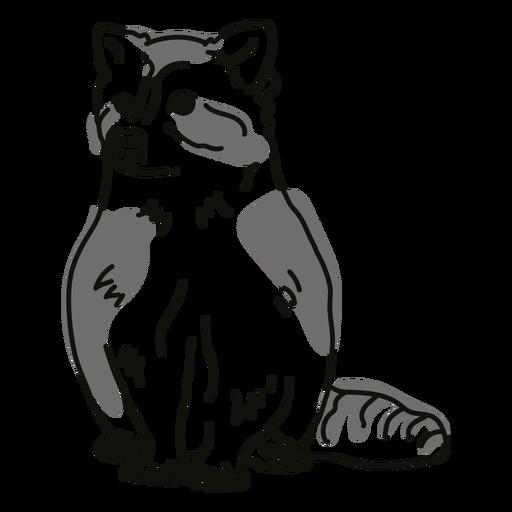 Color stroke semi colored raccoon