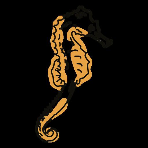 Color stroke semi colored seahorse