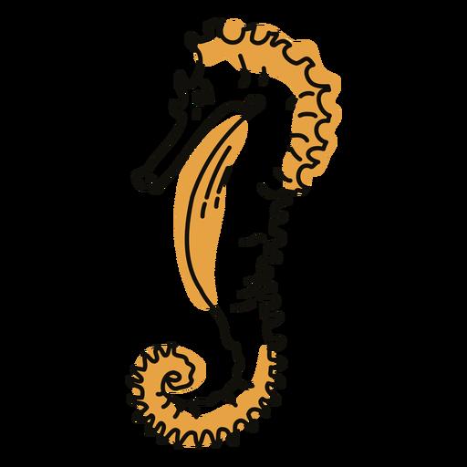 Color stroke semi colored profile seahorse