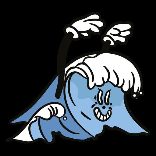 Ocean wave scary cartoon