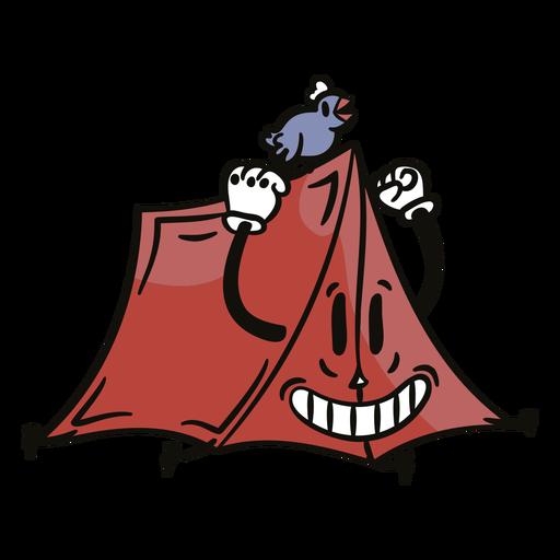 Camp tent happy cartoon