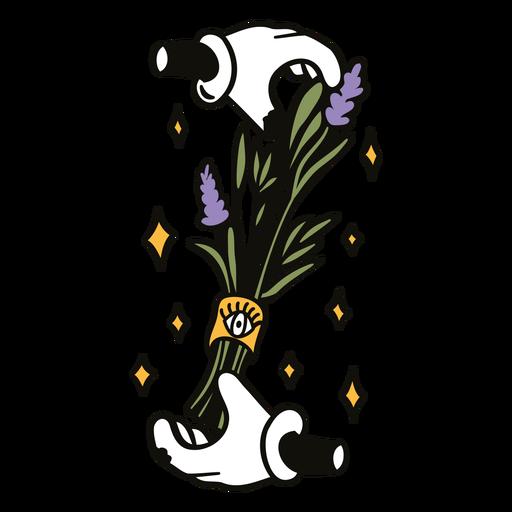 Cartoon hands holding plant