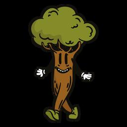 Happy walking tree cartoon
