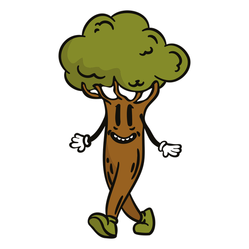 Dibujos animados de árbol feliz caminando