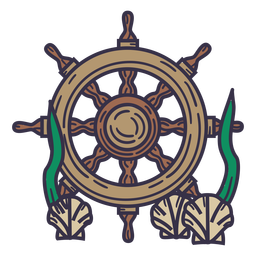 Ship steering wheel underwater color stroke
