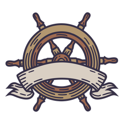 Ship steering wheel color stroke ribbon without text