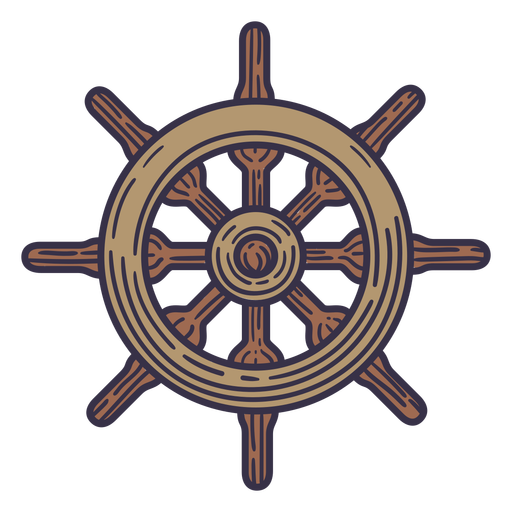 Detailed ship steering wheel color stroke