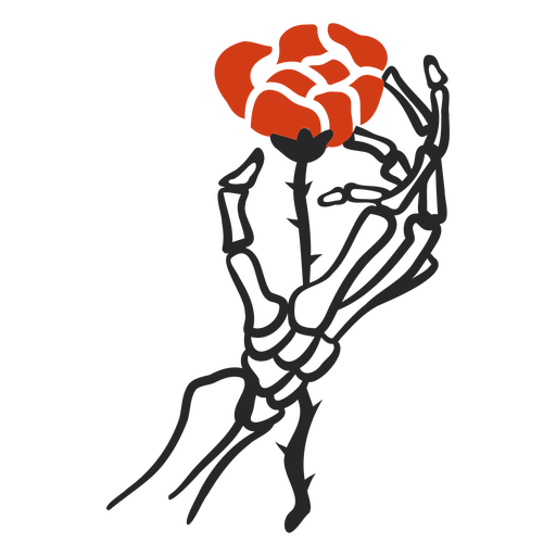 Skeleton holding rose