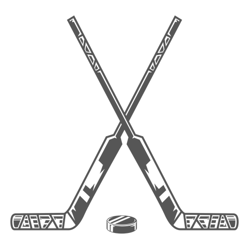 Crossed hockey stick with puck flat