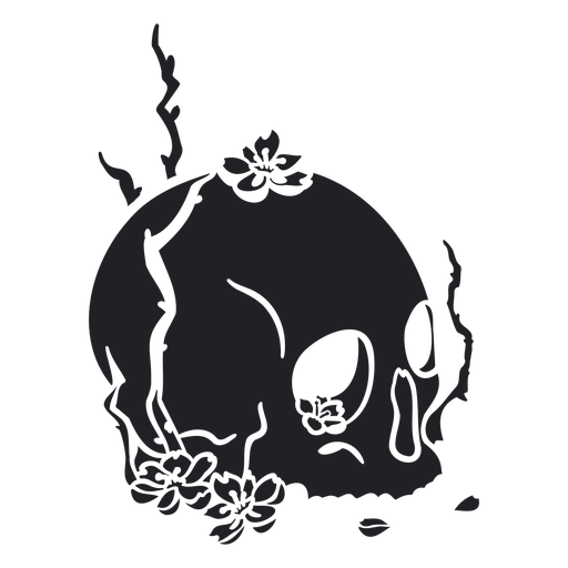 Open skull flowers cut out