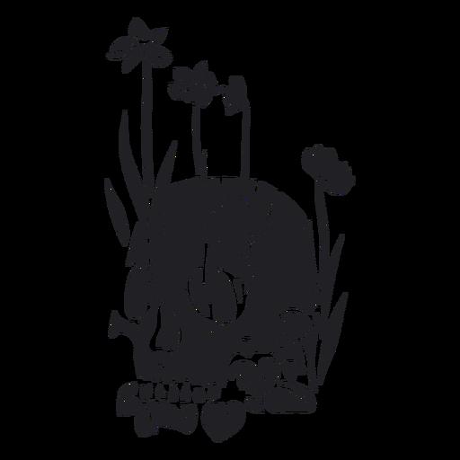 Crânio floresce a natureza recortada