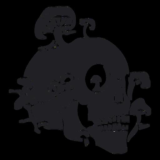 Skull with mushrooms flat