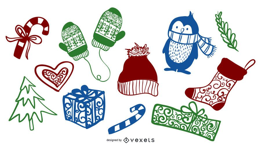 Colorful Christmas Winter Doodle Elements