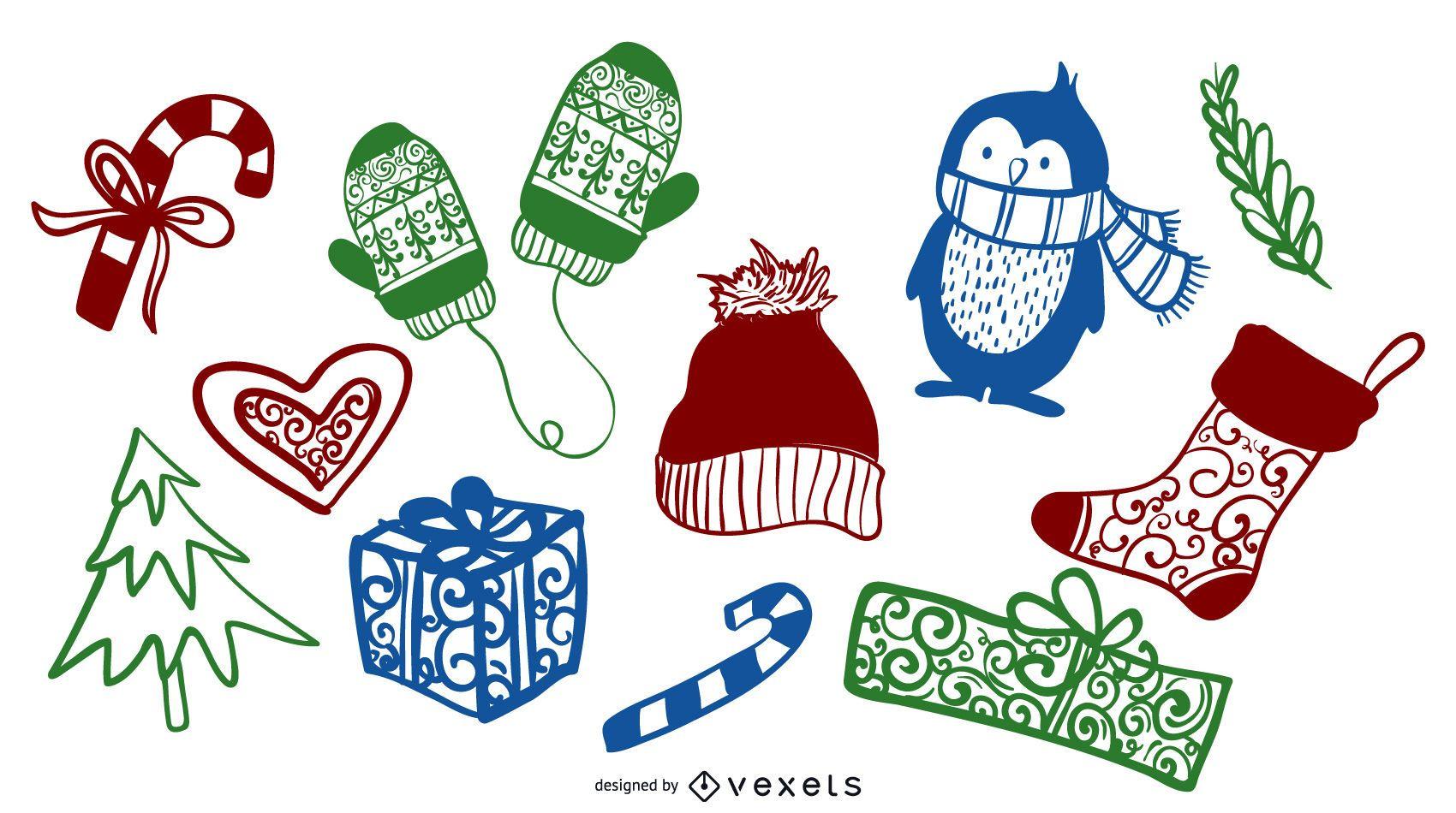 Elementos coloridos del Doodle del invierno de la Navidad