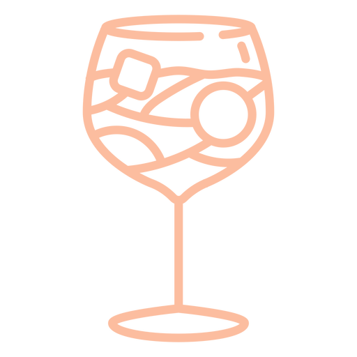 Rounded pink stroke cocktail glass