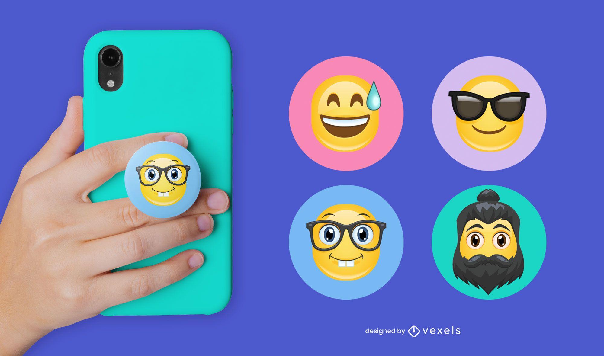 Conjunto de popsocket de emoji