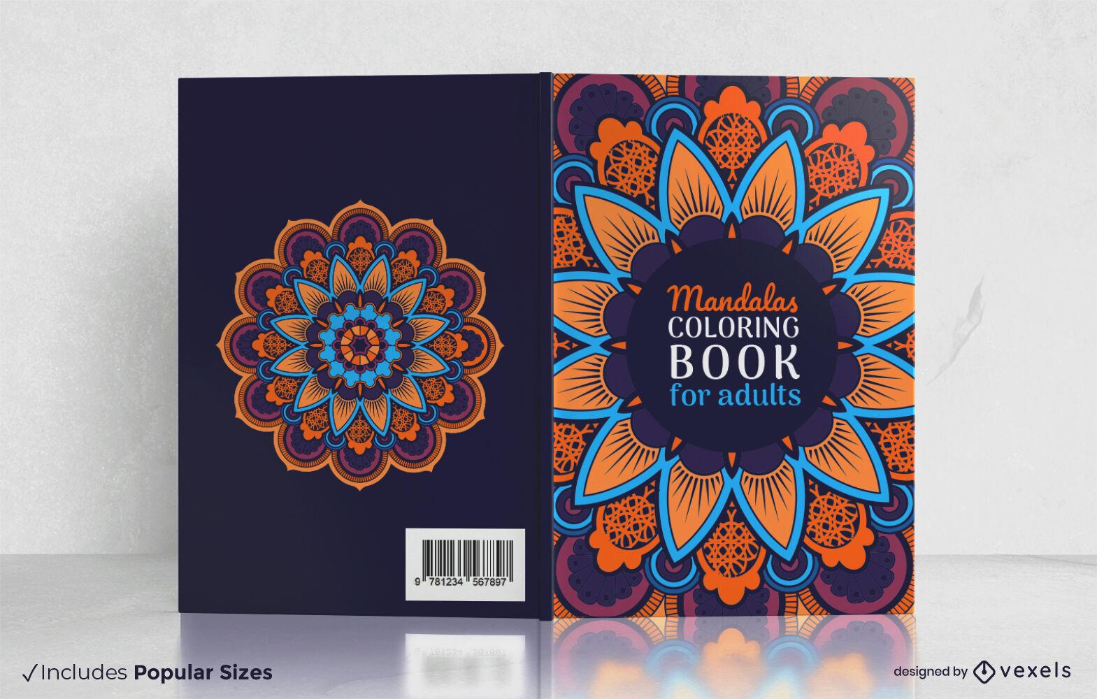 Mandala coloring adult book cover design