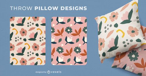 Nature flowers throw pillow set
