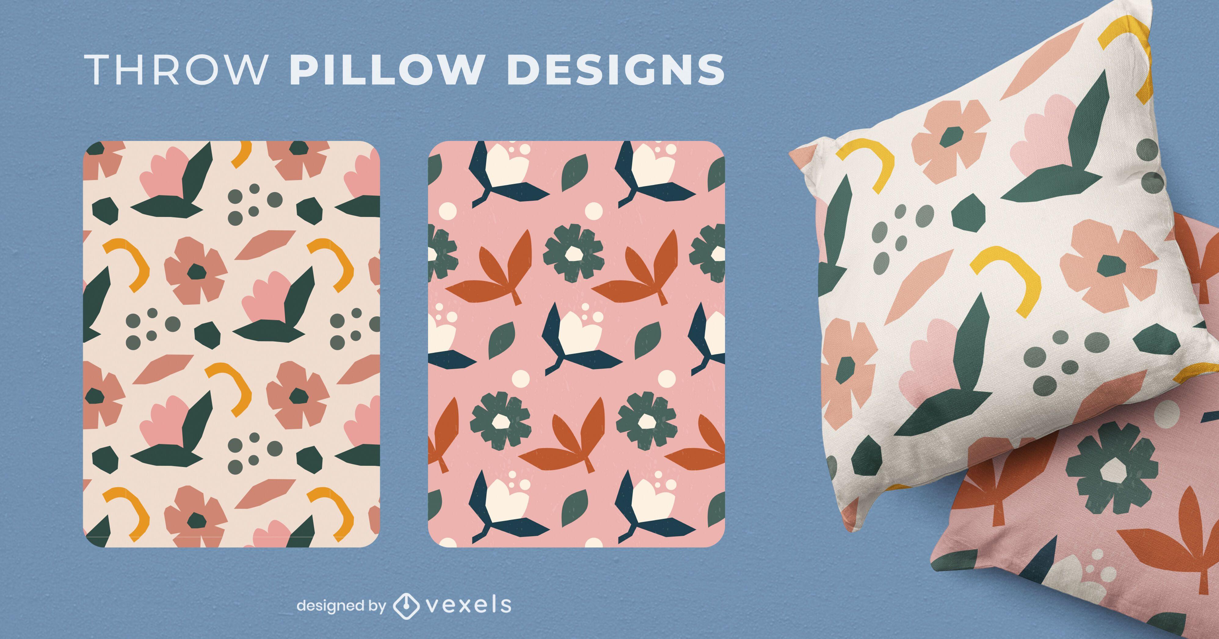 Nature flowers throw pillow set