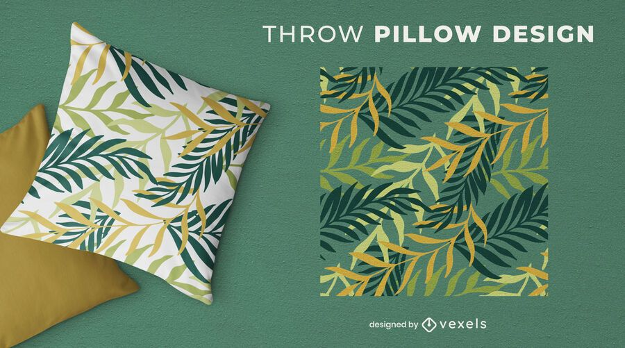 Tropical leaves green throw pillow design