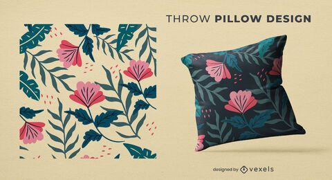 Tropical flowers throw pillow design