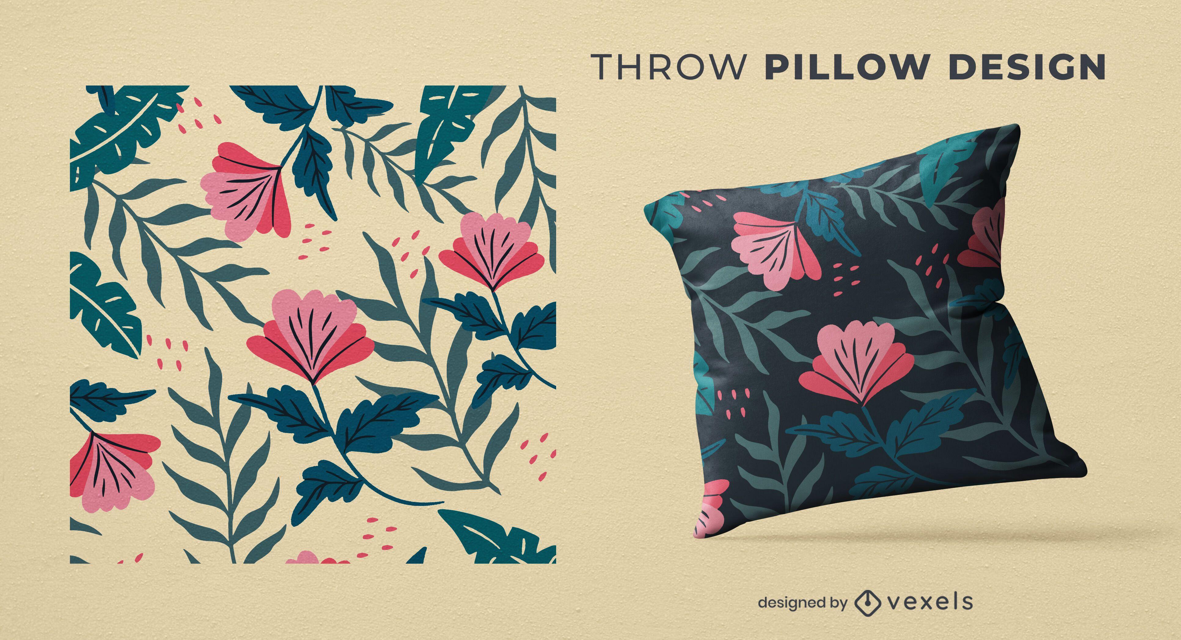 Tropical flowers throw pillow design
