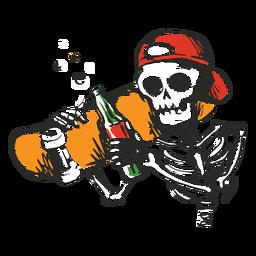 Ilustración de patinador esqueleto