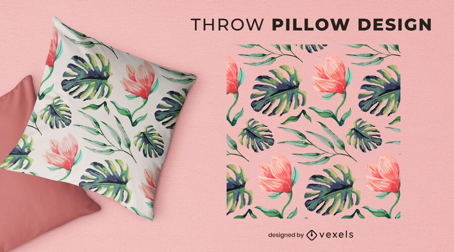 Watercolor leaves throw pillow design