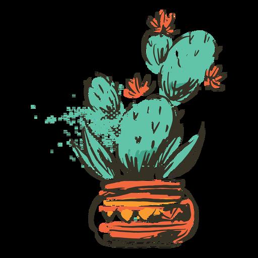 Cactus plant vase illustration