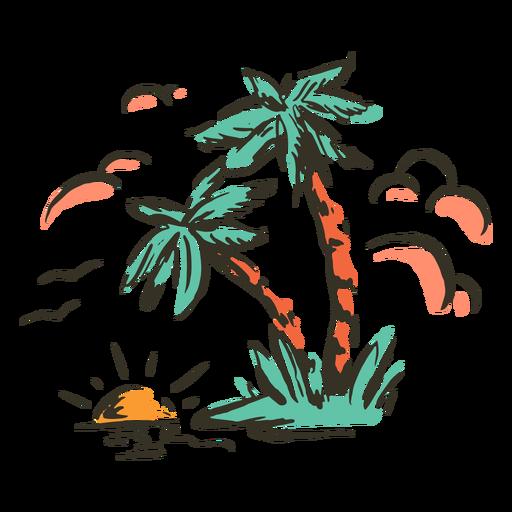 Palm trees tropical island