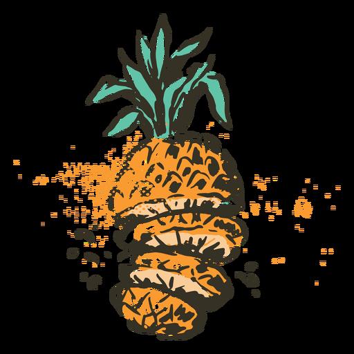 Cut pineapple fruit