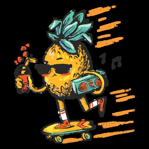 Ilustração de abacaxi skatista