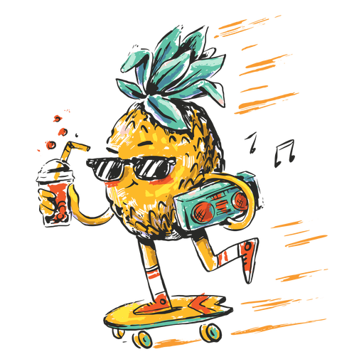 Pineapple skater illustration