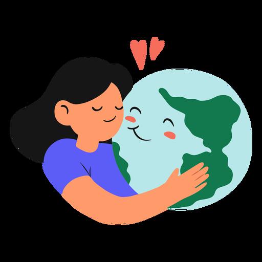 Girl hugging earth planet