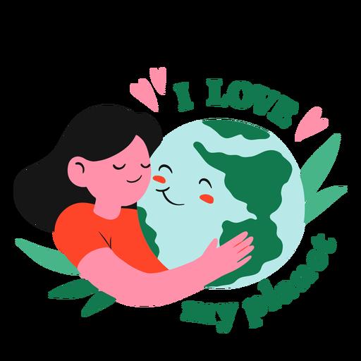 Girl hugging planet earth