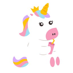Cute unicorn drinking