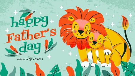 Father's Day cute lions illustration