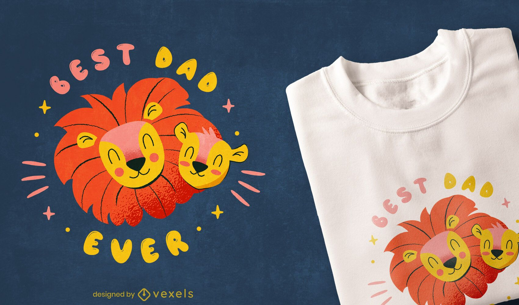 Father's day lions cute t-shirt design