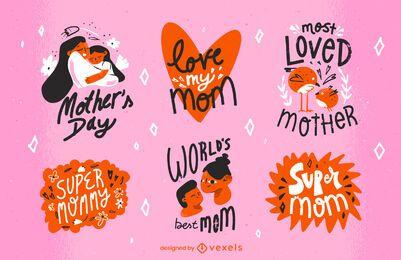 Conjunto de emblemas de dia das mães