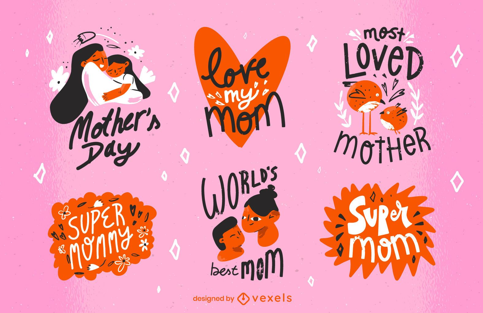Mother's day doodle badge set