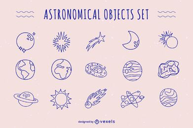 Astronomical objects doodle set